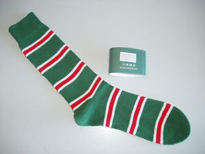 🇬🇧 Leicester 82% Cotton Men's 8-12 Rugby Stripe/Striped Socks Green/Red/White