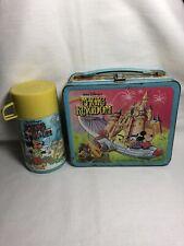 VINTAGE 1979 Walt Disney World MAGIC KINGDOM Metal Lunchbox Thermos Mickey Mouse