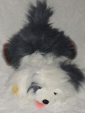 "Ganz Brothers Googles Plush Furry Dog White Gray Stuffed Toy 1988 13"""