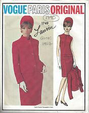 1967 Vintage VOGUE Sewing Pattern B34 JACKET & DRESS (1790R) JEANNE LANVIN