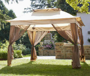 Real Living Tan Pop Up Canopy with Netting, (11' x 11')