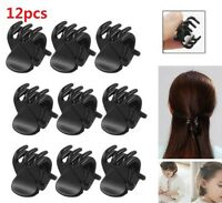 12Pcs/Set  Black Mini Hairpin 6 Claws Plastic Women's Hair Clip Clamps Jewelry
