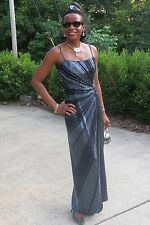 Designer Cache Heavily beaded Silver black ball dress gown S 0-4