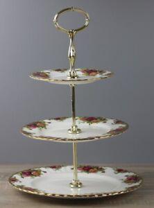 Royal Albert Old Country Roses Etagere 3-stöckig goldone Etagerenhalter  TOP