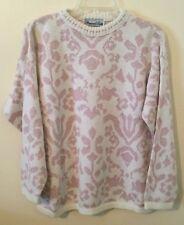 Vintage Precious Knits Pink Sparkle Glitter Sweater Flowers Butterflies M L EUC