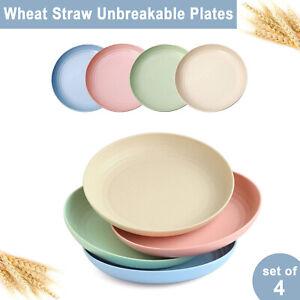 "8.8"" Wheat Straw Dinner Plates Lightweight Unbreakable Plate Set of 4 Dinnerware"