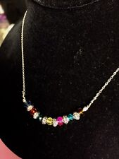 Multi Colored Crystal Necklace Handmade With Antique Spacer Beads, SS Chain