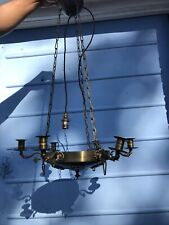 antique metal Fritz Fryer checked* light fitting candelabra candleholder