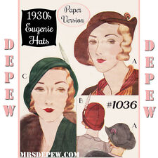 Vintage Cloche Sewing Pattern 1930's Eugenie Hats Reproduction #1036