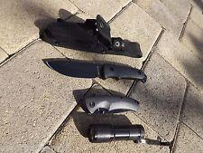 """Camping Fixed Blade 8 3/4"""" & Folder 4 1/2"""" Knife and Led Flashlight SET Black"""