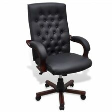 # vidaXL Black Executive Office Chair Chesterfield PVC PU Leather Arm Swivel