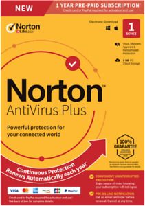 NEW Norton Antivirus 2021 Plus 1 Device PC/Mac Device Security Delivery by Email
