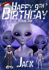 Personalised Grey Alien (Space/Universe) Birthday Card