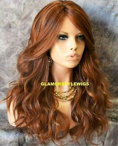 HUMAN HAIR BLEND FULL WIG LONG WAVY LAYERED BANGS AUBURN MIX HAIR PIECE