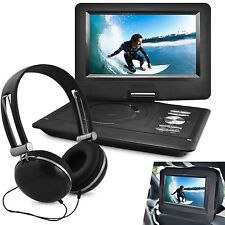 "10"" Portable Swivel DVD Player Kids Car Travel Headrest Mount w Headphones Black"