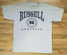 Russell Athletic Gray T Shirt Navy Print & Logo Authentic American Sport 1902