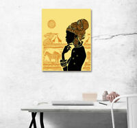 Abstract Art Poster Print Canvas Paint Home Wall African Scenic Woman Silhouette