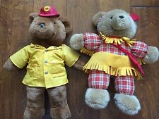 2 vintage 18 inch bears, fireman FD, indian girl, felt clothes and feathers