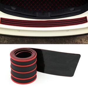 Car Rear Bumper Sill Protector Plate Rubber Cover Guard Exterior Trim w/ Tape