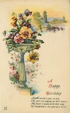 Antique DB Postcard K052 A Happy Birthday Planter with Flowers Multi View Lake