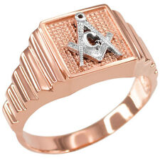 Rose Gold MASONIC Square Men's Ring