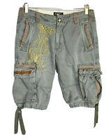 RARE Ed Hardy Mens Cargo Shorts Size 30 Drawstring  Christian Audigier Embroider
