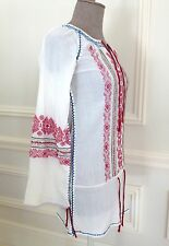 Stunning FREE PEOPLE Boho Chic Coachella Hippie Folk Embroidered Tunic Top Dress