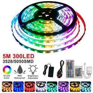 RGB LED Strip Lights IP65 Waterproof 5050 5M 300 LEDs 12V IR Controller AU Plug