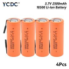 4x 3.7V 2500mAh Li-ion 18500 Battery With Tabs Rechargeable High Performance 99