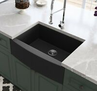 Black Farmhouse Sink Granite Composite Apron Front Sink Single Bowl