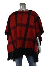 Lauren Ralph Lauren Red Black Plaid Wool Poncho S/M New $325
