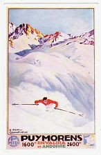 POSTCARD FRENCH TOURISM PUYMORENS SKIING ANDORRA ARTIST-SIGNED