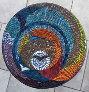 Side Table w/Waterfall Edge Mosaic by Angelina SEE VIDEO