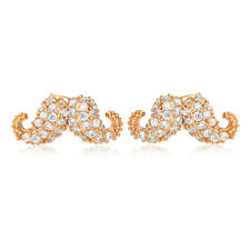 Classic Moustache full crystal womens girls gold filled stud earrings gift