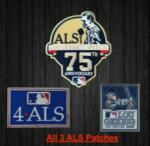 Three Lou Gehrig Patch es 4 ALS MLB June 2 2021 Baseball Jersey Lou Gehrig Day
