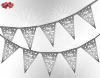 Happy New Year Stars Silver Bunting Banner 15 flags by PARTY DECOR