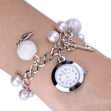 Exquisite Women Charms Faux Pearl Pendant Bracelet Quartz Wrist Bangle Watch