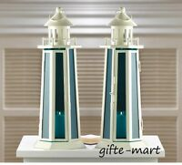 2 ocean BLUE white nautical LIGHTHOUSE statue Candle holder Lantern light lamp