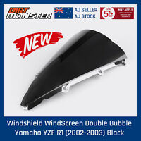 Tinted Black Motorcycle Windshield WindScreen for Yamaha YZF R1 02-03 2002 2003