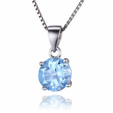 2.4ct Natural Round Blue Topaz Necklace Pendant 925 Silver special occasion