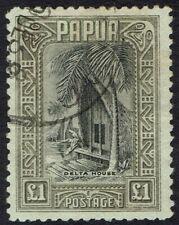 PAPUA 1932 DELTA HOUSE 1 POUND USED