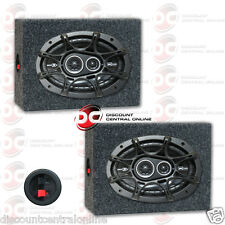 """KICKER DS 6"""" x 9"""" 3-WAY CAR AUDIO COAXIAL SPEAKERS + 2 x SEALED SPEAKER BOXES"""