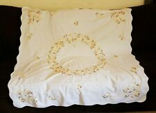 Vintage Doily Place Mat Linen Tablecloth Flower Embroidery Embroidered Autumn