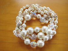 Vintage Faux Pearl and Faceted AB Graduated Bead 4 Strand Stretch Bracelet