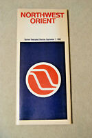 Northwest Orient Airlines System Timetable - Sept 7, 1982