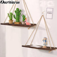 Wooden Hanging Shelves Wall Mounted Floating Shelf with Rope Storage Home Decor