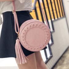 Women Fashion ROUND Weave Cross Body Messenger Tassel Shoulder Bag Tote Handbag
