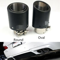 Oval Real Carbon Fiber Exhaust Tip 63mm Inlet/89mm Outlet Car Muffler Pipe Matte