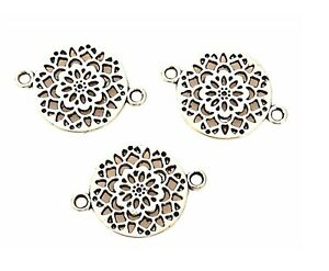 20 Antiqued Silver 14mm Cutout Flower Focal Bead Link Connector Drop Findings