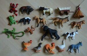 Safari Ltd Plastic Animals Lot Gorilla Cow Birds Dog Teepee Wagon Frog Tapir Cow